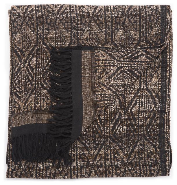 Jaipur Living Pyrmids Black/Cream Geometric Throw, 52x68