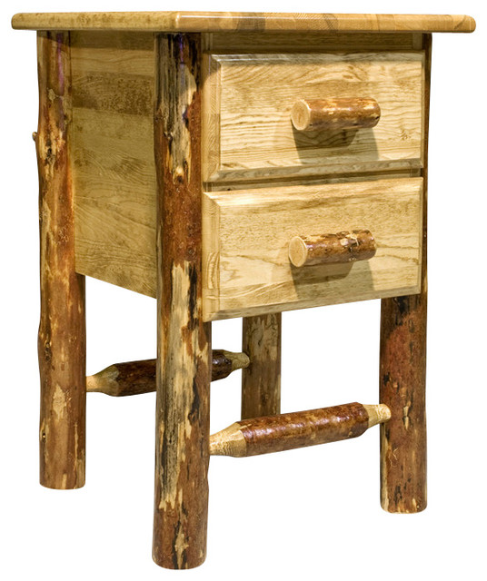 Montana collection nightstand with 2 drawers rustic for Tall rustic nightstands
