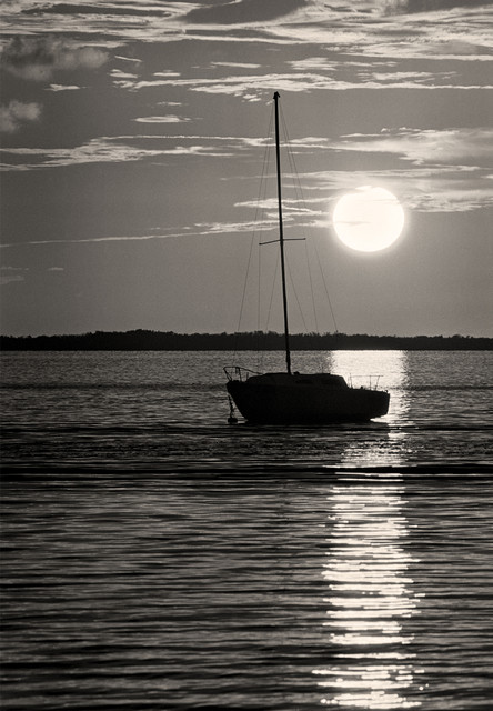 Sail Boat At Sunset Key Largo Florida Keys Fine Art Black And White Photography