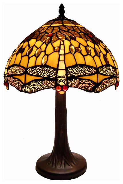 small tiffany table lamps uk dragonfly lamp ebay style amber traditional qvc