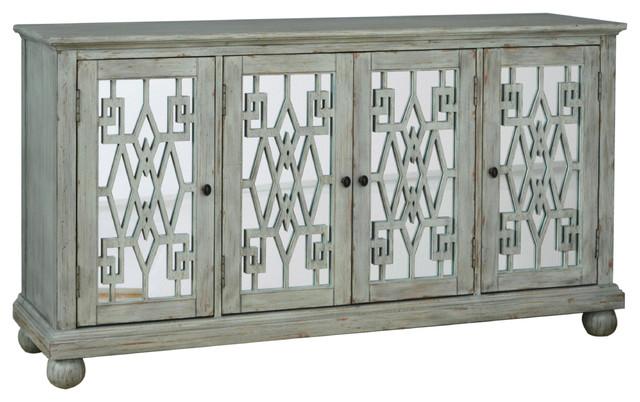 Pulaski Grey Distressed Overlay Mirrored Door Cabinet