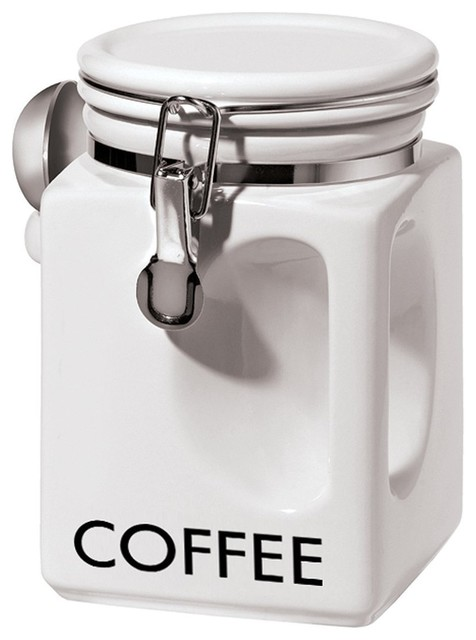Oggi coffee canister white reviews houzz - Modern tea and coffee canisters ...
