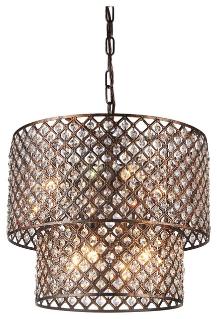 Antique Copper 2 Round Drum Shades 8-Light Crystal Chandelier Ceiling  Fixture contemporary-chandeliers - Antique Copper 2 Round Drum Shades 8-Light Crystal Chandelier