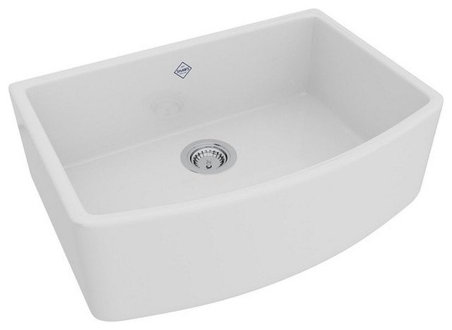Rohl Shaws Fireclay A Front Kitchen Sink White Contemporary
