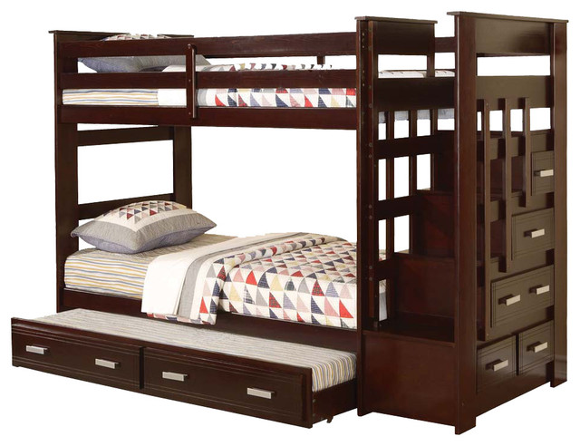 Allentown Espresso Wood Twin Twin Bunk Bed With Storage Stairway Drawers  Trundle contemporary-bunk-