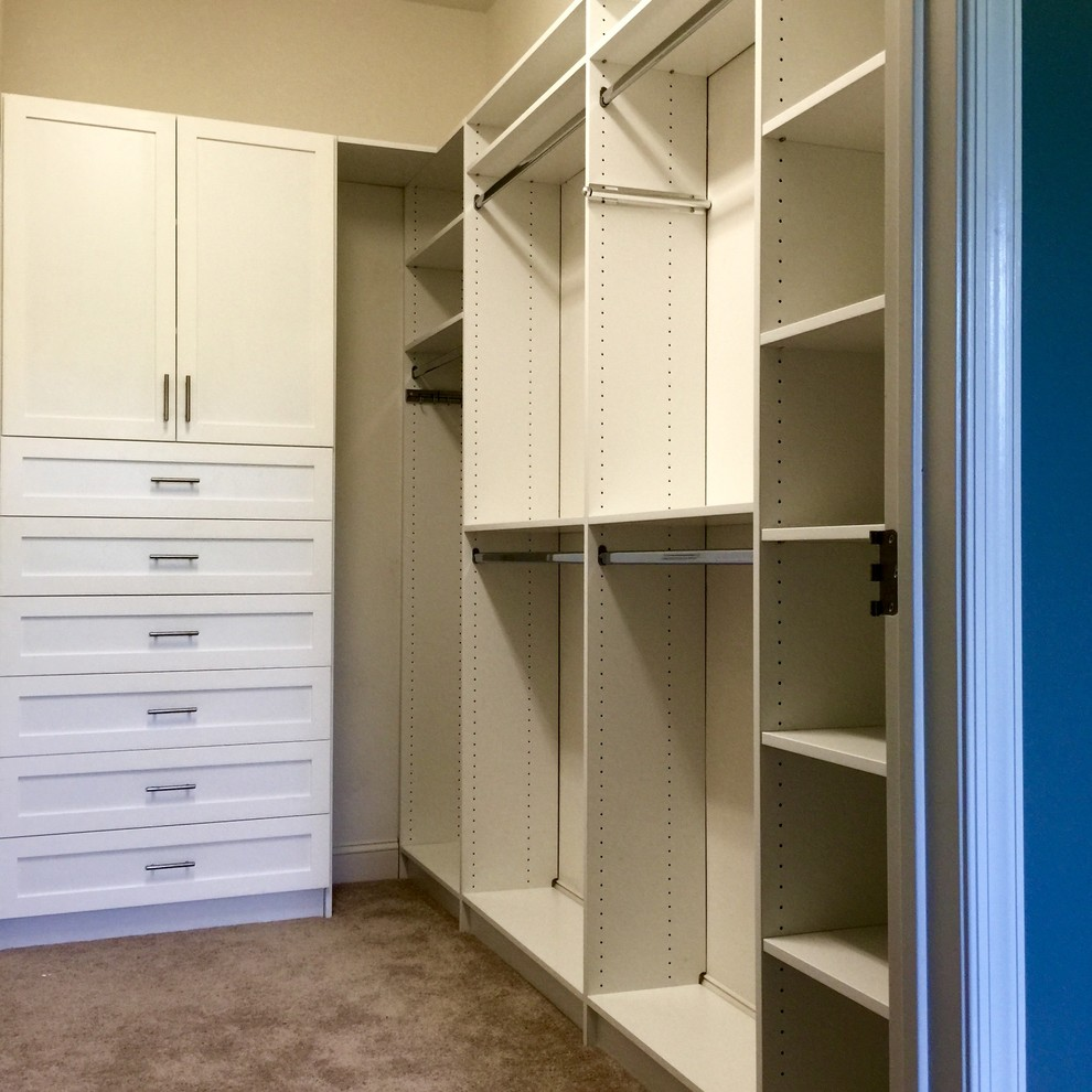White Custom Closet with 5 piece drawer fronts & doors - Monroe, NJ