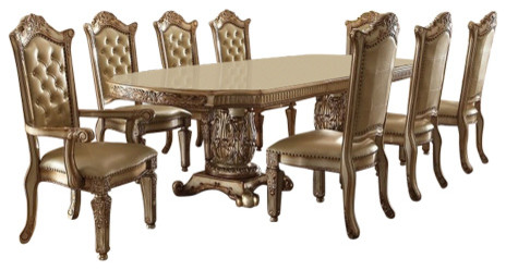Vendome Gold Patina Finish Bone Upholstery Formal 7 Piece Dining Room Table Set