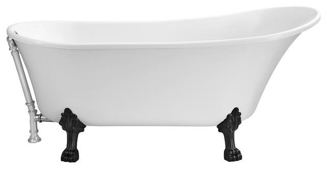 "Streamline 63"" Soaking Clawfoot Tub With External Drain."