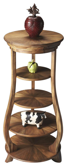 Masterpiece Handcrafted Etagere (Toasted Barley) Transitional Side Tables  And End