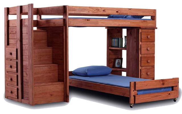 Hemet Extra Long Stairway Storage Loft Bed Rustic Kids Beds By Totally Kids Fun Furniture