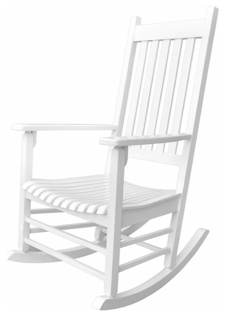 Vermont Porch Rocker, White Beach Style Outdoor Rocking Chairs