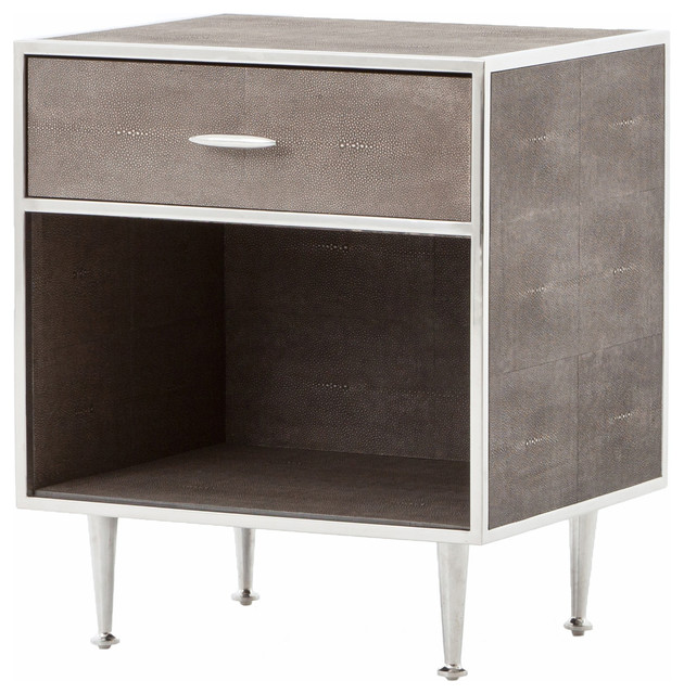 Bentley Faux Shagreen Bedside Table, Stainless Steel  Midcentury Nightstands And Bedside