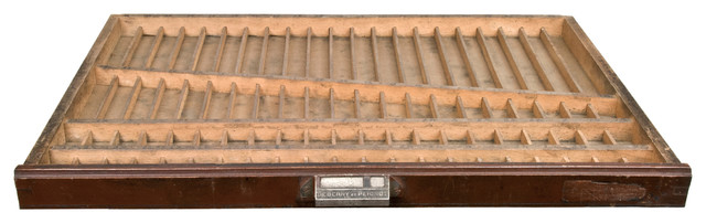 Consigned Vintage French Wood Printer's Type Tray Or Drawer - Rustic - Serving Trays - by ...