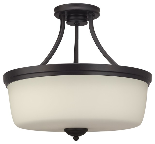 "Kira Home Kingston 16"" Ceiling Light, Frosted Glass Shade, Oil-Rubbed Bronze."