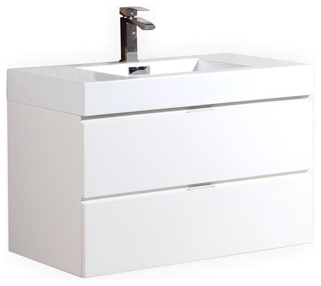 Kubebath Bliss 36 High Gloss White Wall Mount Single Sink Floating Vanity.