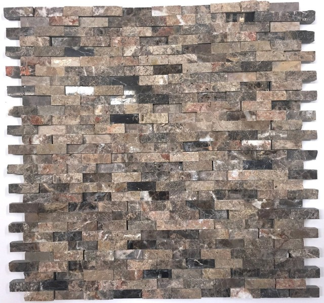Natural Stone Emperador Splitface Mosaic Tile Sheet Dark Brown Marble