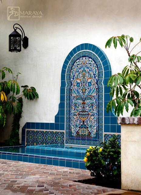 Blue Malibu Tile Fountain Mediterranean Landscape