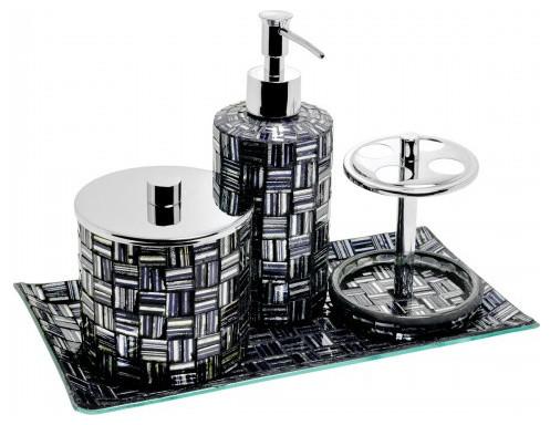 Mosaic Glass Bathroom Set, Black