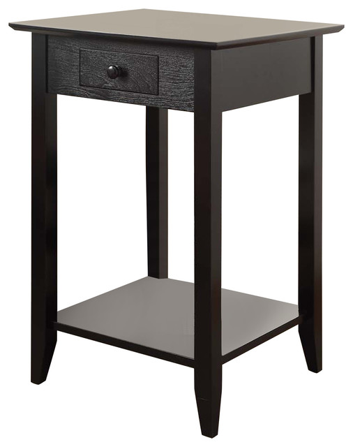 American heritage end table with drawer and shelf black for Black side table with drawer