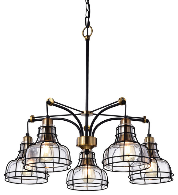 Locke 5-Light Black and Antique Gold Chandelier With Clear Glass Shade