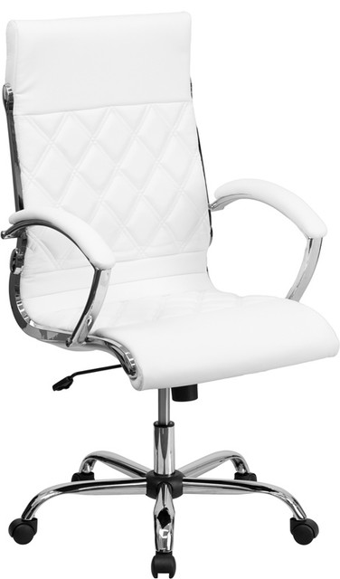"Designer White Leather Executive Swivel Chair With Chrome Base And Arms, 43""."
