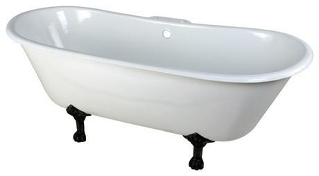 "67"" Cast Iron 2 Clawfoot Bathtub, 7"" Centers, White/feet Oil Rubbed Bronze."