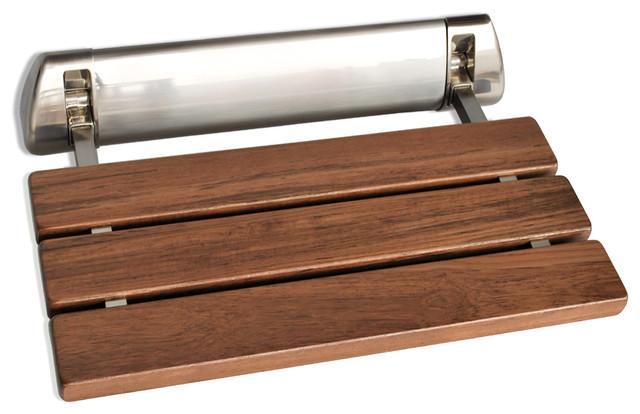 K Teak Wood Folding Shower Seat Wall Mounted Bench Brushed