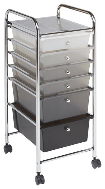 6-Drawer Mobile Organizer, Grayscale.