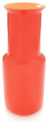 Middle Kingdom Bamboo Vase, Coral Red/Orange