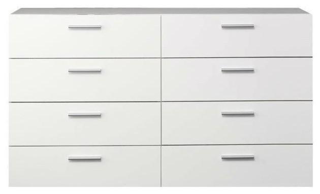 . White Modern Bedroom 8 Drawer Double Dresser