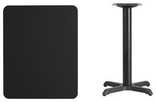 "24""x30"" Rectangular Black Laminate Table Top-22""x22"" Table Height Base"