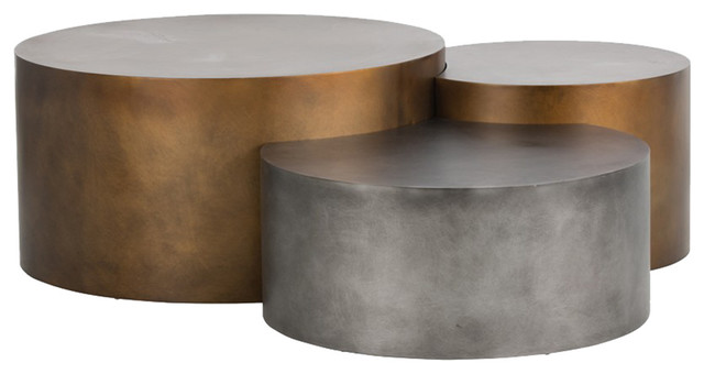 3-Piece Aviance Industrial Loft Gold Silver Staggered Round Coffee Table Set  sc 1 st  Houzz & 3-Piece Aviance Industrial Loft Gold Silver Staggered Round Coffee ...
