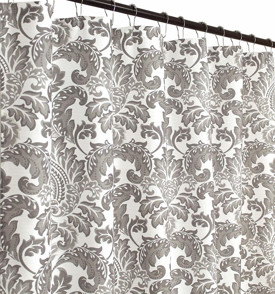 "Damask Geometric Design Floral 70/"" x 72/"" inch Fabric Shower Curtain"