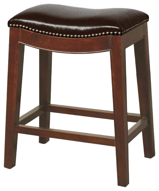 Elmo Bonded Leather Counter Stool, Saddle Brown
