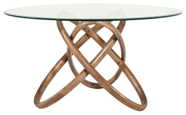 Modrest Mason Modern Round Glass and Walnut Dining Table