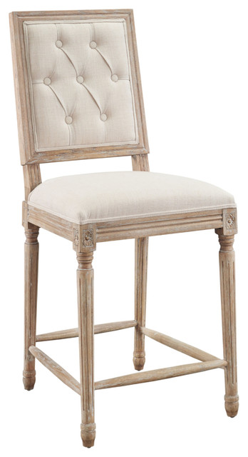 Avalon Blue Tufted Square Back Counter Stool, Linen