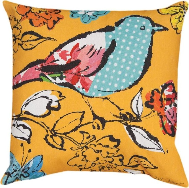 Manual Pair of Sunny Day Flight Watercolor Bird Print In/Outdoor Throw Pillows - Outdoor ...