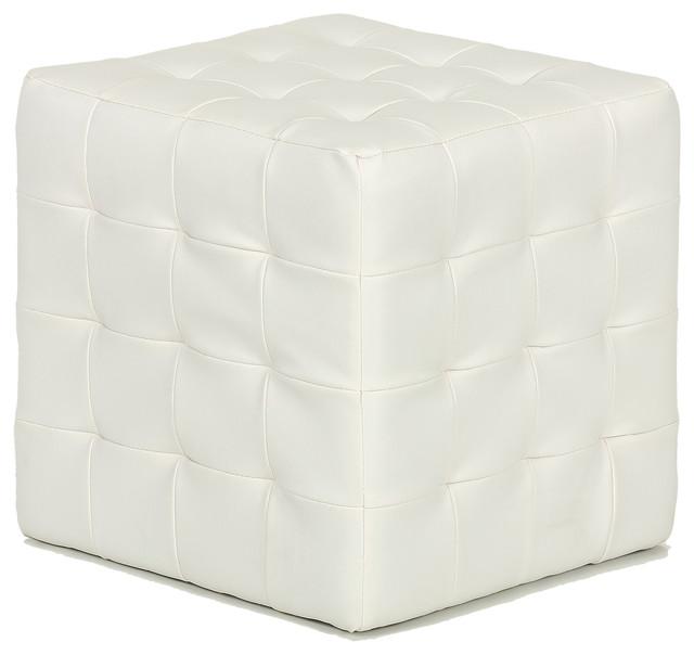 Jojo White Tufted Cube Ottoman Faux Leather