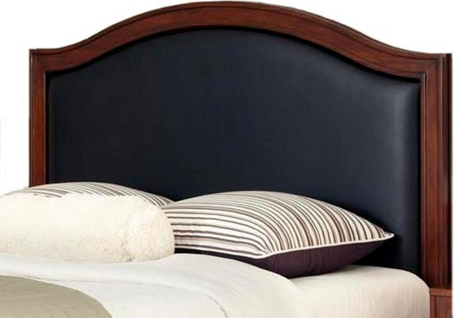 Calgary Leather Insert Headboard, Black, Queen.
