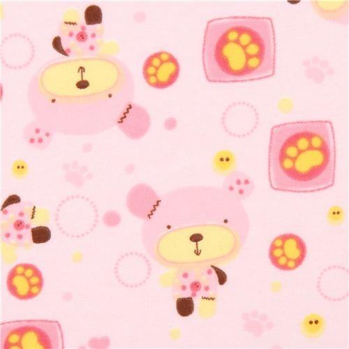 pink teddy bear animal flannel fabric Little Teddy Play
