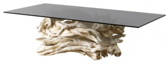 S Sculptural Driftwood Table Beach Style Dining Tables By - Glass dining table with driftwood base