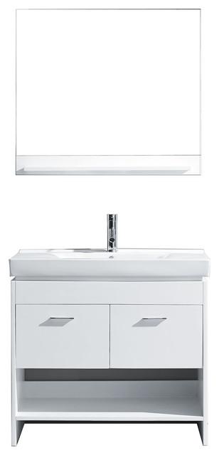 """Virtu Gloria 36"""" Single Bathroom Vanity, White, Brushed Nickel Faucet, Mirror contemporary-bathroom-vanities-and-sink-consoles"""
