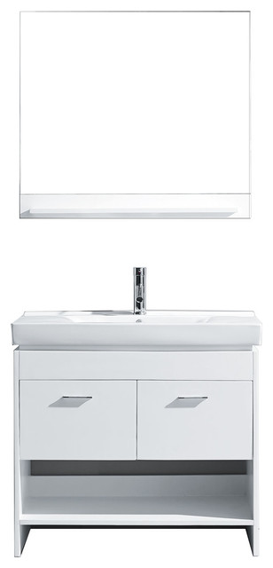 "Virtu Gloria 36"" Single Bathroom Vanity, White, Brushed Nickel Faucet, Mirror contemporary-bathroom-vanities-and-sink-consoles"