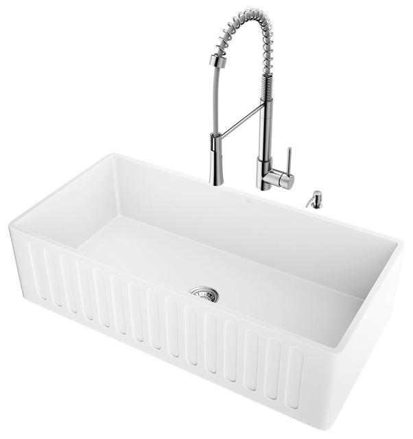 Vigo All In One 36 Matte Stone Farmhouse Kitchen Sink Set