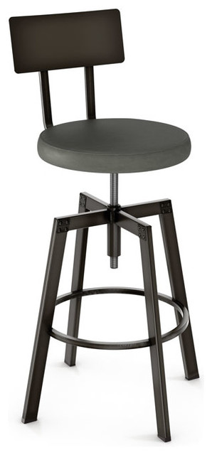Adjustable Screw Stool With Upholstered Seat, Counter Height
