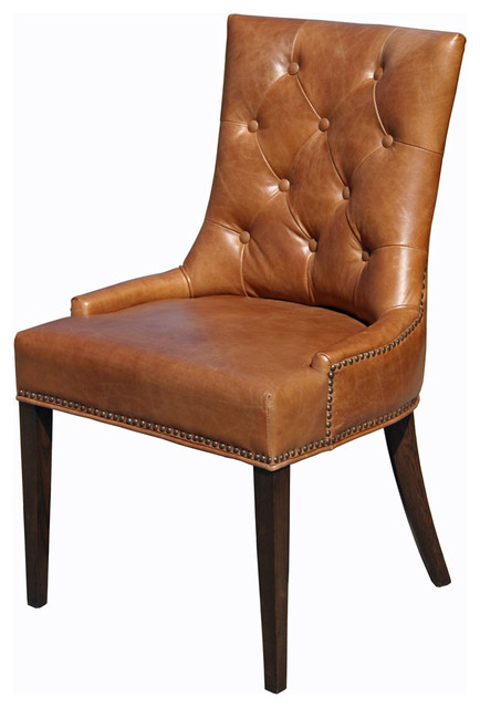 Top Grain Leather Dining Chair, Antique Brown