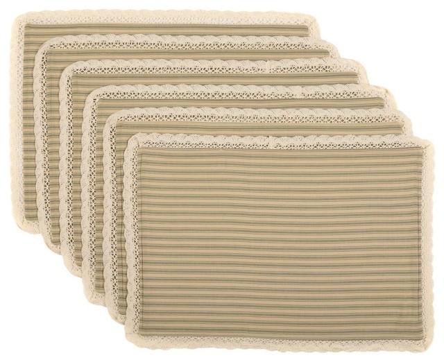 Pleasant Kendra Stripe Green Placemat Set Of 6 Lamtechconsult Wood Chair Design Ideas Lamtechconsultcom