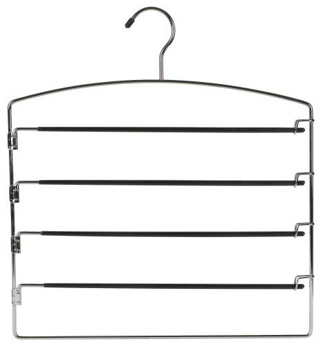 Metal 4-Tier Pant Hangers With Swing Arms, Set Of 3, Black.