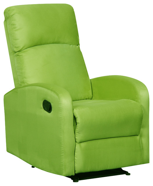 Modern Home Slim Design Microfiber Recliner, Lime Green Contemporary  Recliner Chairs