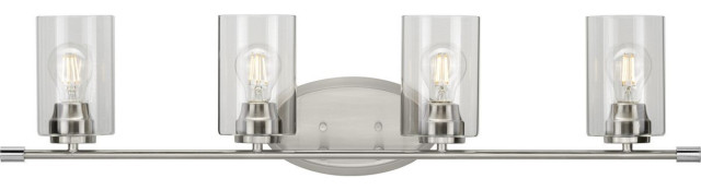 Riley 4 Light Bathroom Vanity Light in Brushed Nickel